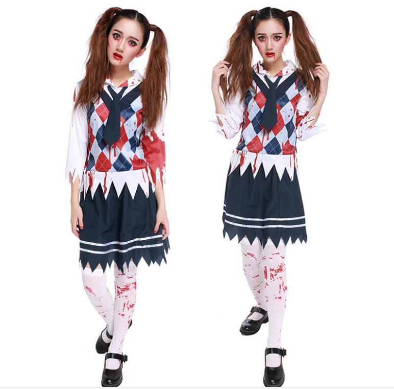 Las mujeres Sexy Cosplay uniforme de estudiantes papel de colegiala jugar falda carnaval Halloween Zombie ropa interior pijamas traje