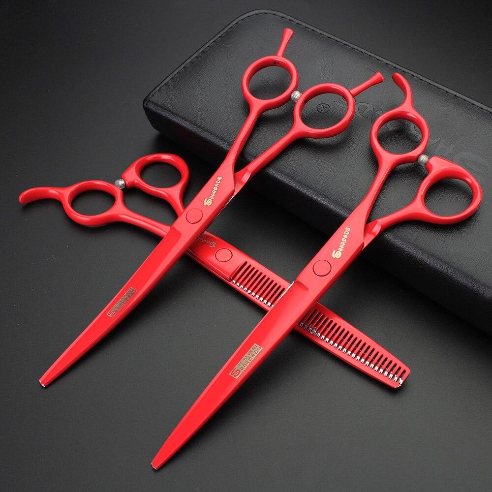 Tijeras de pelo para mascotas profesionales rojas de 7 pulgadas, tijeras de peluquería especiales para gatos y perros, traje de alta calidad, envío gratis