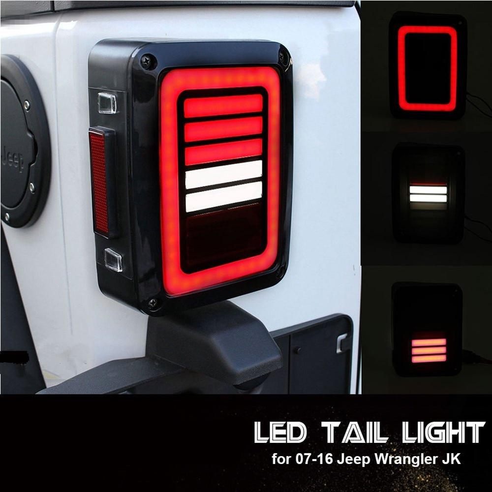 Lente de luces traseras LED de humo para Jeep Wrangler 2007-2017 JK JKU con luz de freno de marcha atrás de montaje de la lámpara de señal de estacionamiento de giro inverso