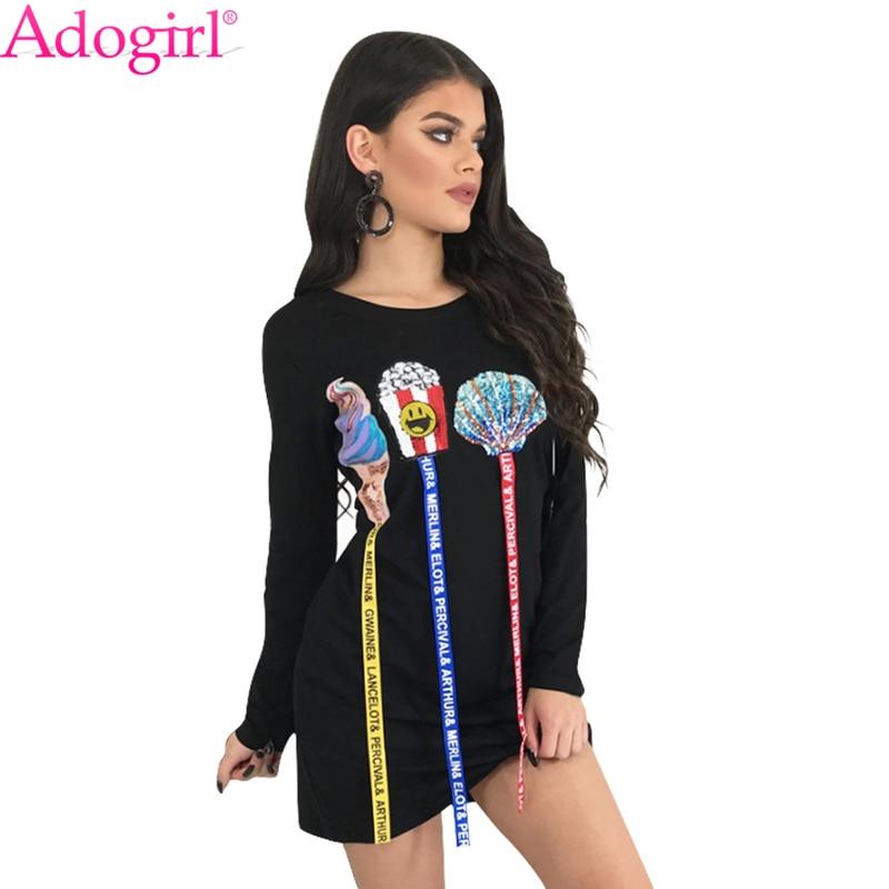 Adogirl helado Shell palomitas imprimir cintas Casual Mini vestido 2018 nuevo Festival de Rock americano manga larga Camiseta vestido de moda