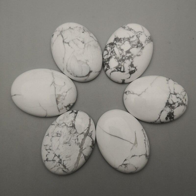 O branco da forma howlite turquesa grânulos de pedra naturais para a jóia que faz o cabochão oval 30x40mm 6 pces nenhuns acessórios do anel de hloe