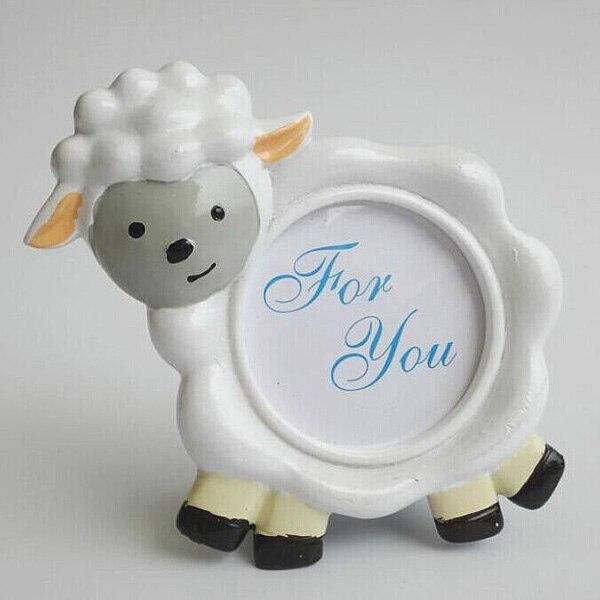 100 unids/lote novedad encantador diseño de ovejas marco de fotos soporte de bebé ducha favores fiesta de cumpleaños regalo envío gratis