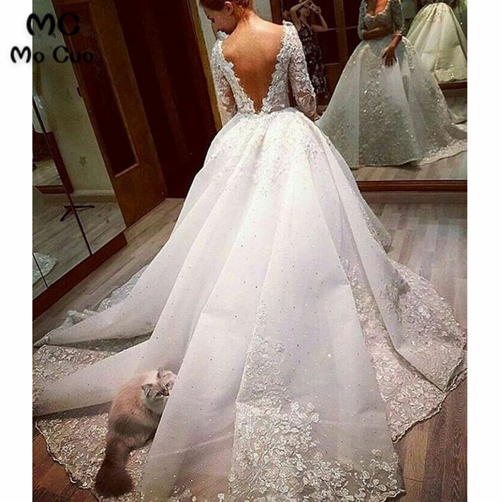 Vestido de novia de manga larga con velo, traje de novia de...