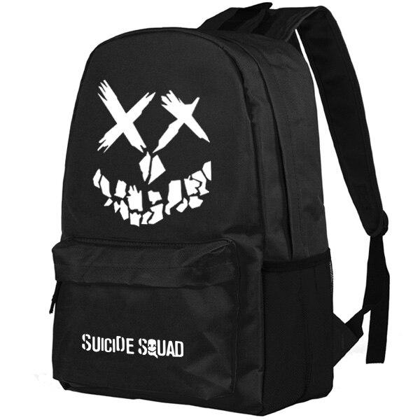 Escuadrón suicida/Harley Quinn/Joker mochila mujeres hombres mochila luminoso estudiantes mochilas escolares para adolescentes mochilas escolares
