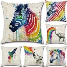 Splash Ink Unicorn Printed Linen Cushion Cover Rainbow Zebra Elephant Pillow Cover Case 45x45cm Home Bedroom Decor Pillowcase