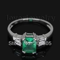 vintage princess emerald ringnatural baguette diamond emerald ring in 18kt white gold sr86