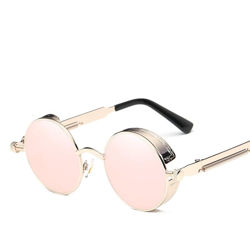 ZXTREE круглые готические солнцезащитные очки в стиле стимпанк мужские ретро солнцезащитные очки Женские Модные металлические солнцезащитны...