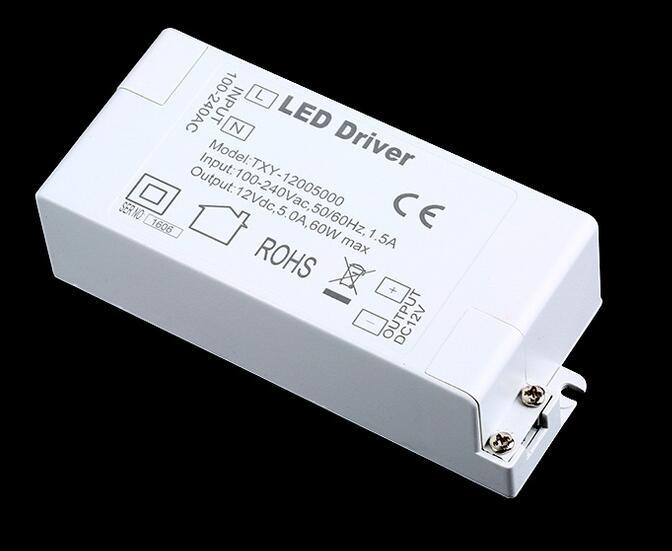 3 years warranty 100 pcs Led Power Supply 12V 5A 60W LED Driver AC DC adapter 100V-240V Lighting Transformer LED Lamp Strip