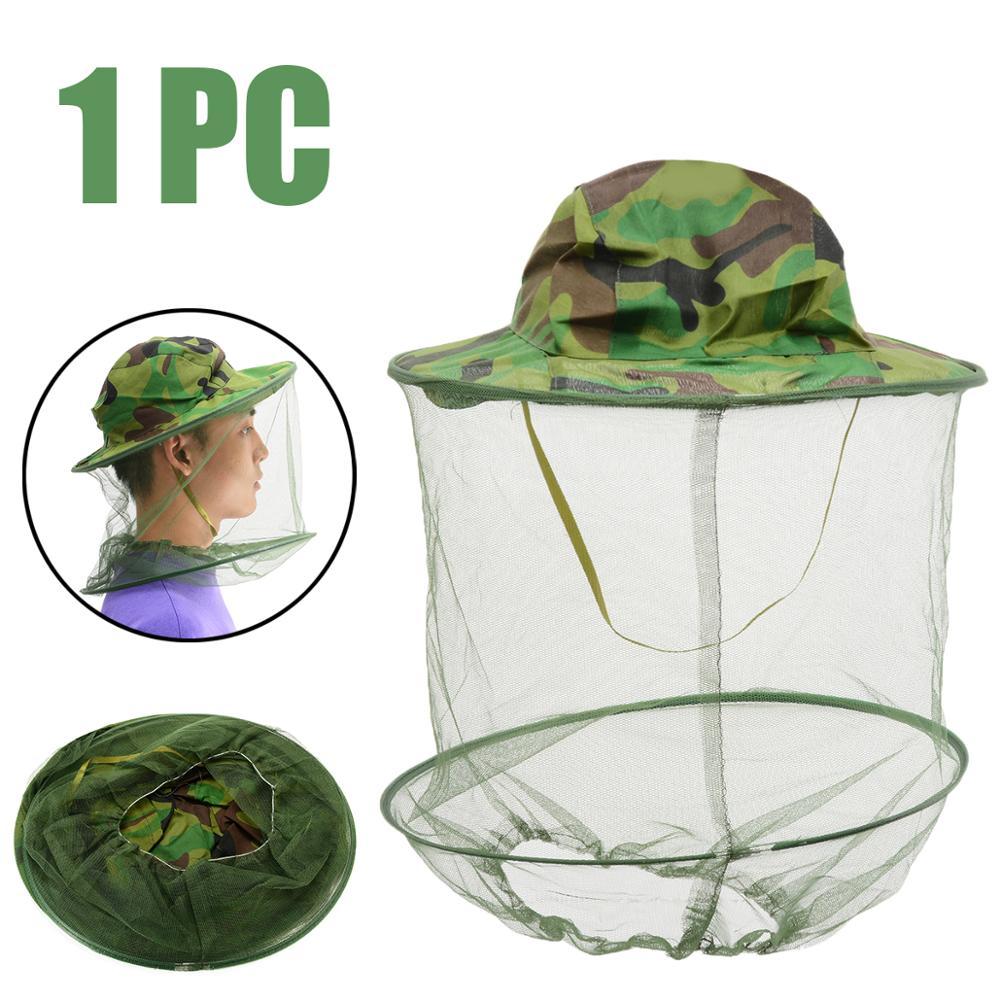 Новая камуфляжная шляпа для пчеловодства, защита от комаров, пчелы, насекомых, сетка, вуаль, головной убор для лица, защита для шеи, инструменты для пчеловодства