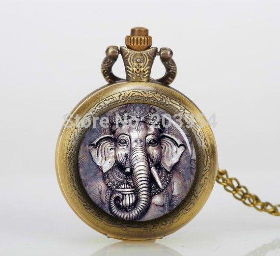 Gran cara Ganesh 12 unids/lote elefante bolsillo relojes COLLAR COLGANTE antiguo Bronzen foto medallón personalizado regalo reloj vintage