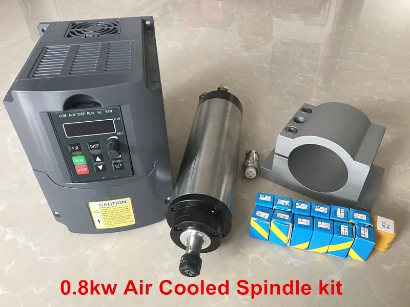 Eje de enrutador CNC 800 W, Kit de husillo refrigerado por aire, Motor de 0,8 kW, inversor de 220 W, abrazadera de 65mm, 13 uds, pinza ER11