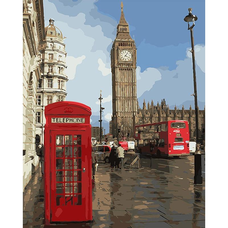 Peinture par numéros en bricolage   Impression de paysage londonien, Art de salon, coloration par numéros, décor de salon modulaire, Art