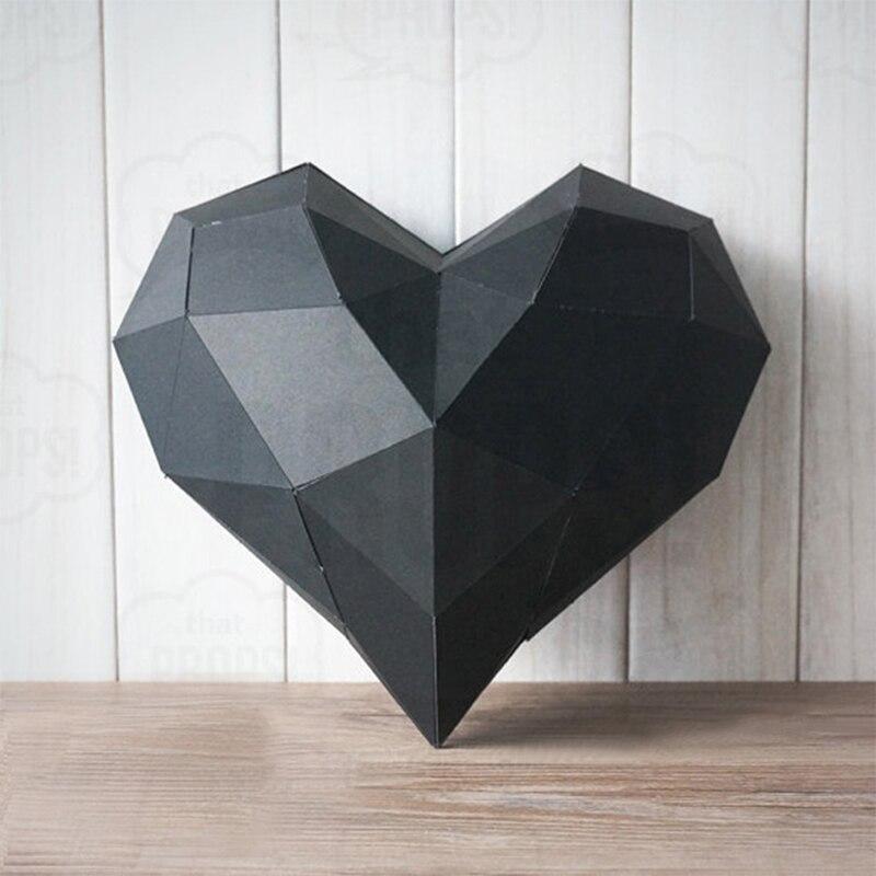 2pcs/lot 18cm DIY Home Decoration Cute Love Heart Paper Model Puzzle Toy Animal for Restaurants Educational Folding Model