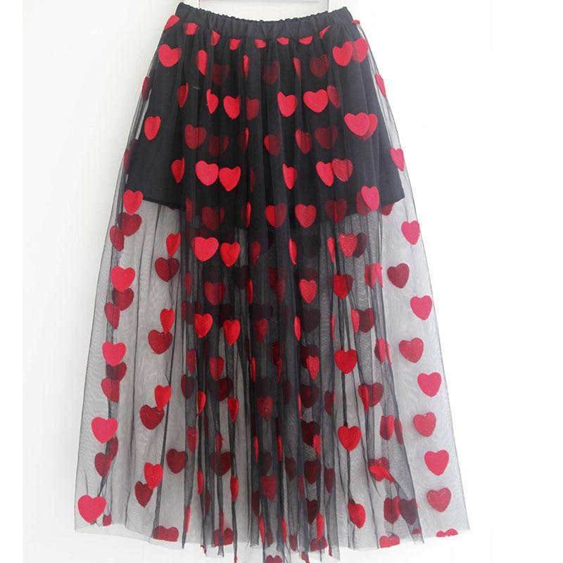 Skirt For Girls Red Heart PatternTeenager Summer Skirt 2020 Maxi Long Mesh Tulle Girl Skirts Children Clothes 8 10 12 14 16 Yrs