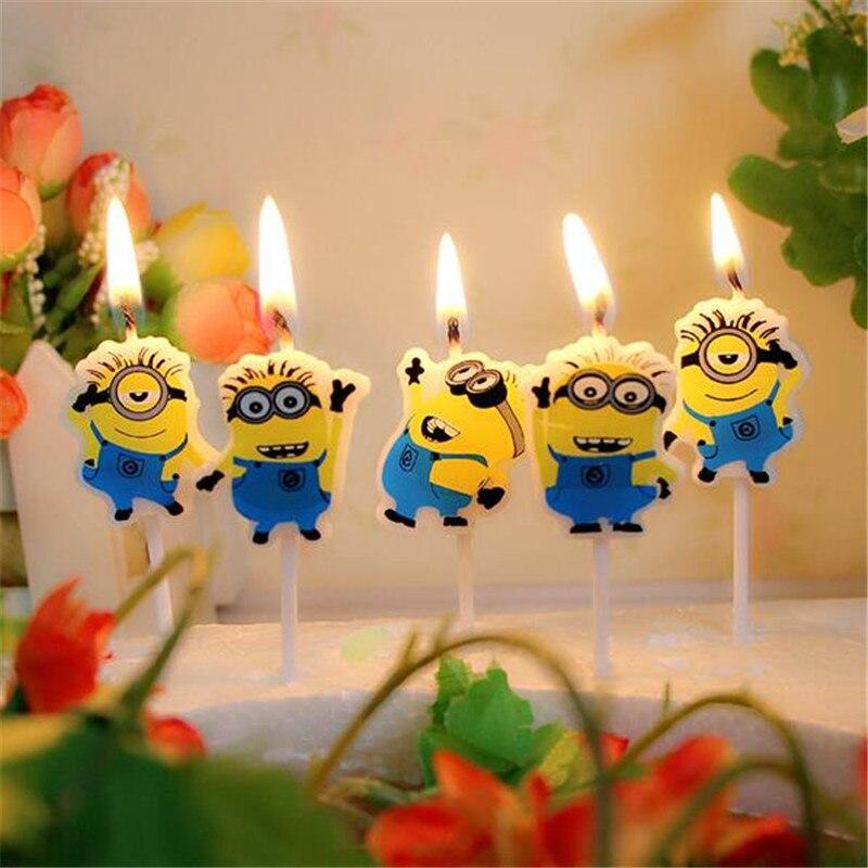 5 unidades/pacote design de vela adorável minion cartoon bonito para menino e menina feliz aniversário festa suprimentos para chá de fraldas