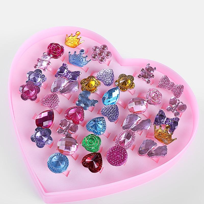 Irregular Strass Anéis 36 pc/caixa Amor Crianças Cute Doce Projeto Anéis de Acessórios de Moda Jóias Meninas Presentes Do Partido Da Criança Dedo
