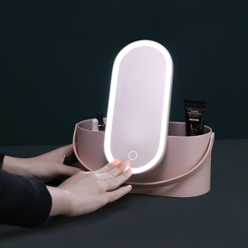 Caja organizadora de maquillaje con luces LED, pantalla táctil, neceser portátil de viaje con espejo para maquillaje, lámpara de mesa, caja de almacenamiento para cosméticos