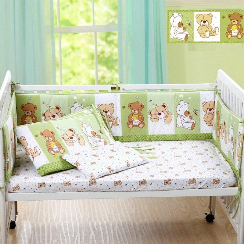 Симпатичный мультяшный Хлопковый бампер для детской кроватки, бампер для детской кроватки, детские кроватки для новорожденных, защита для ...