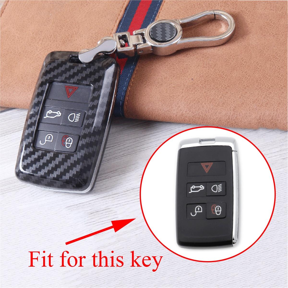 Funda de llave de fibra de carbono adecuada para Range Rover Sport Discovery Sport Discovery4 2018 piezas de carcasa de llave Fob bolsa titular cubierta Accesorios