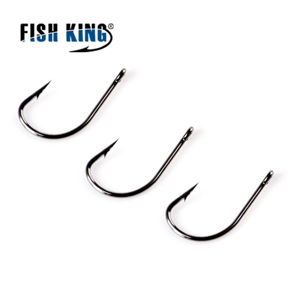 FISH KING 50 unids/lote TOMARU gancho de pesca con anillado #3-12 # gancho de púas carpa alimentador Anzol anzuelo Jig gancho de Japón