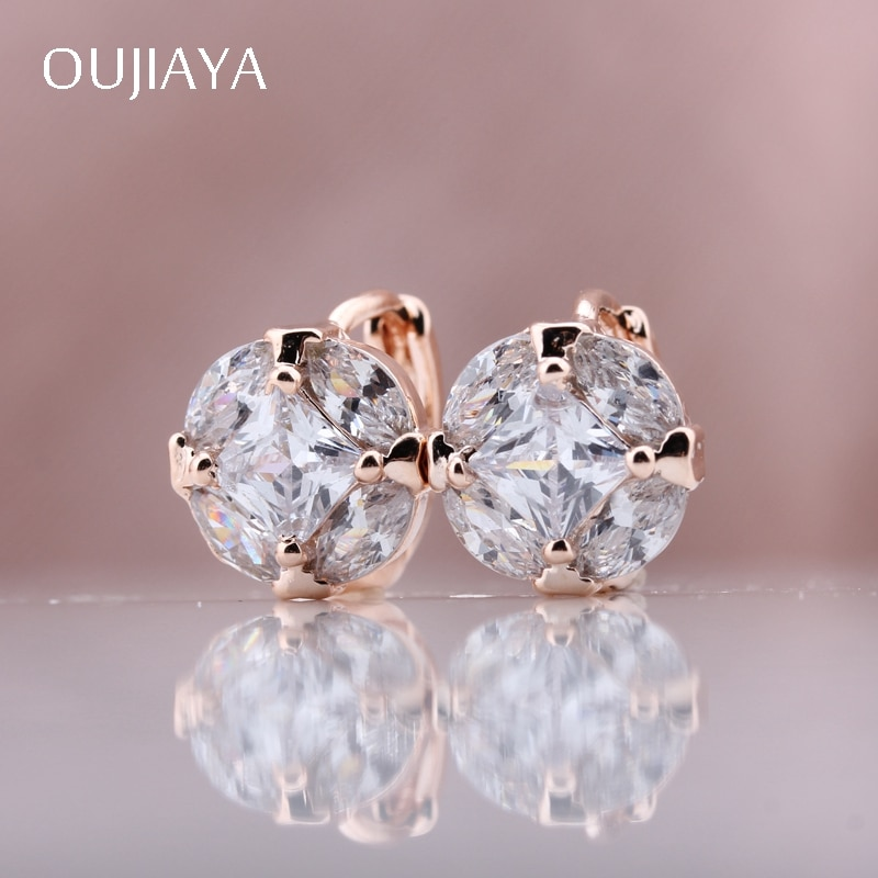 OUJIAYA Twinkle round 585 Rose Gold Wedding earrings Luxury Natural Zircon Dangle Earrings Fashion Women Party Exquisite A37