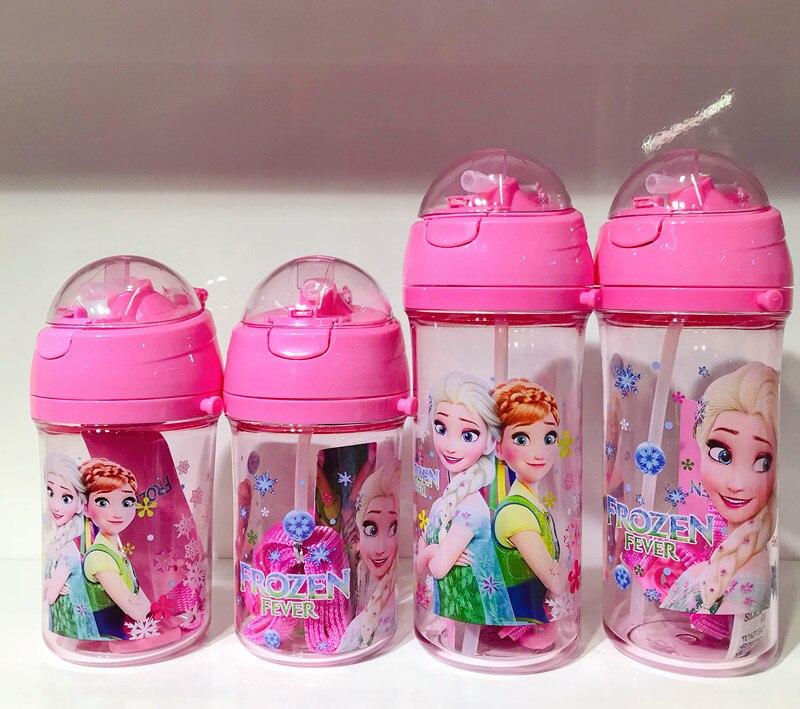 1 Uds 400 ml-600 ml Disney princesa niños cordón pajita beber taza niño niña botella agua dibujos animados Frozen Elsa tetera taza Mickey