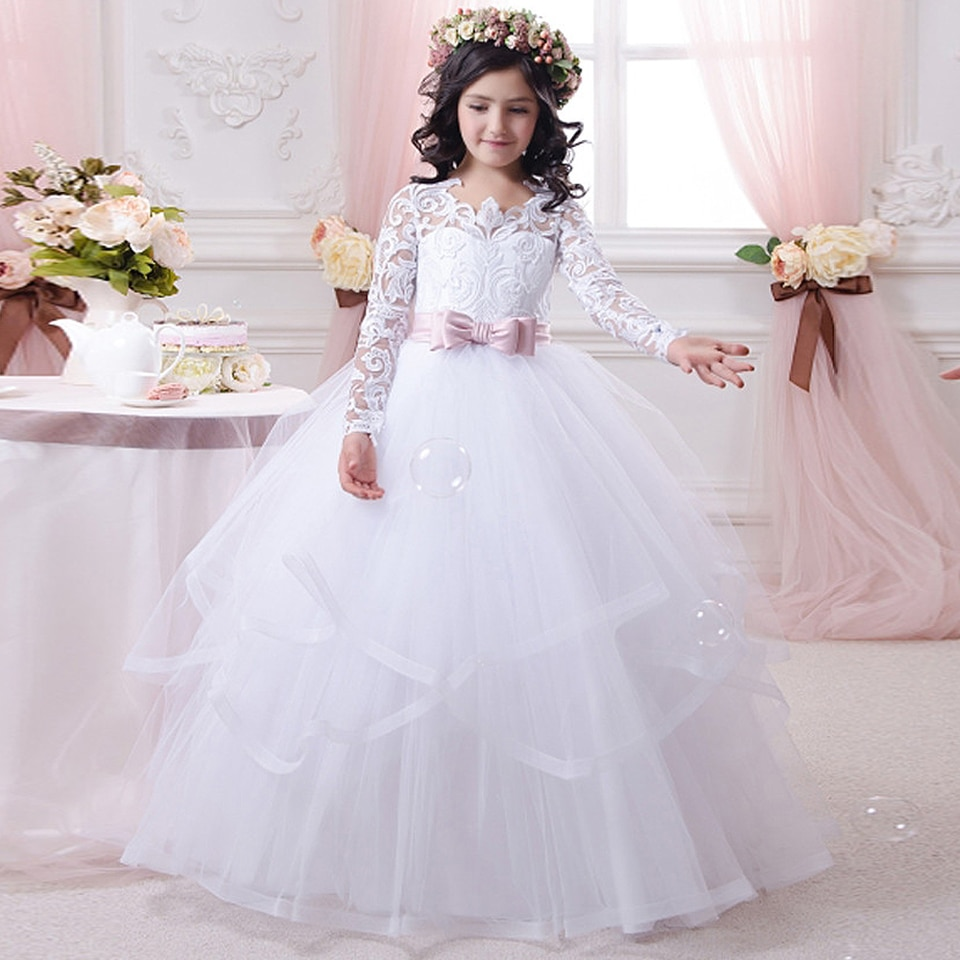 Vestido blanco nuevo de encaje esponjoso con flores para niña, vestido de boda de manga larga, vestido de gala para niña, vestido de desfile de comunión