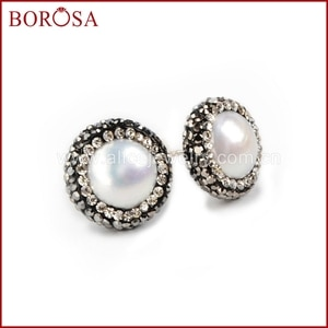 BOROSA Pure Silver Color Natural pearl stud earrings round Fashion paved CZ edged vintage style Fashion druzy earrings JAB046