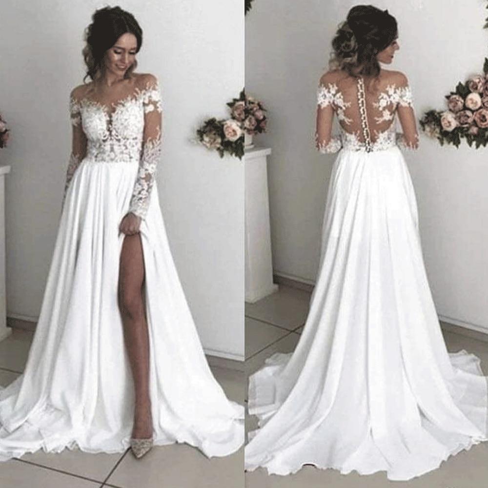 SuperKimJo, vestidos De novia De chifón para la playa, 2020, apliques De encaje, vestido De novia Sexy elegante De manga larga, vestido De novia