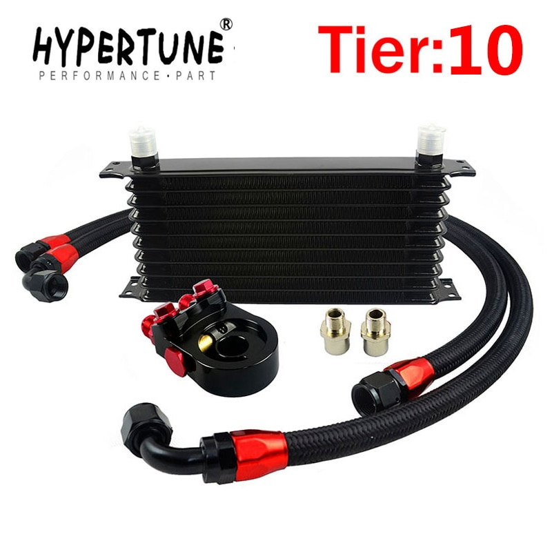 Hypertune-KIT enfriador de aceite Universal de 10 filas tipo Trust + adaptador de placa tipo sándwich de aceite AN10 con termostato + manguera trenzada de nailon 2 uds