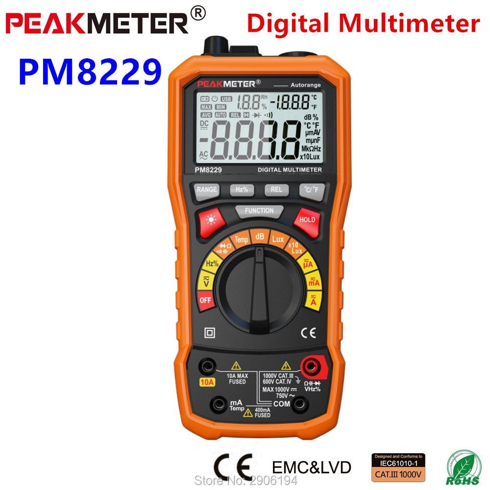 PEAKMETER PM8229 5 в 1 Автоматический цифровой мультиметр с многофункциональным Lux уровнем звука, измеритель частоты, температуры и влажности