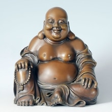 Laughing Buddha Statue Real Bronze Smiling Buddha Maitreya Figurine Lucky Sculpture for Home Decor