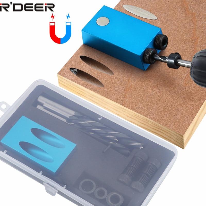 Gabarit de trou de poche remplaçable 6, 8, 10mm guide de forage kit de gabarit de goujon arrière magnétique perceuse à bois pour le jointage du bois