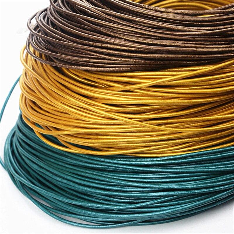 Comeown pérola cabos de couro genuíno 2mm 5 m artesanato redondo cabo de couro real/corda/linha para diy pulseira colar jóias fazendo