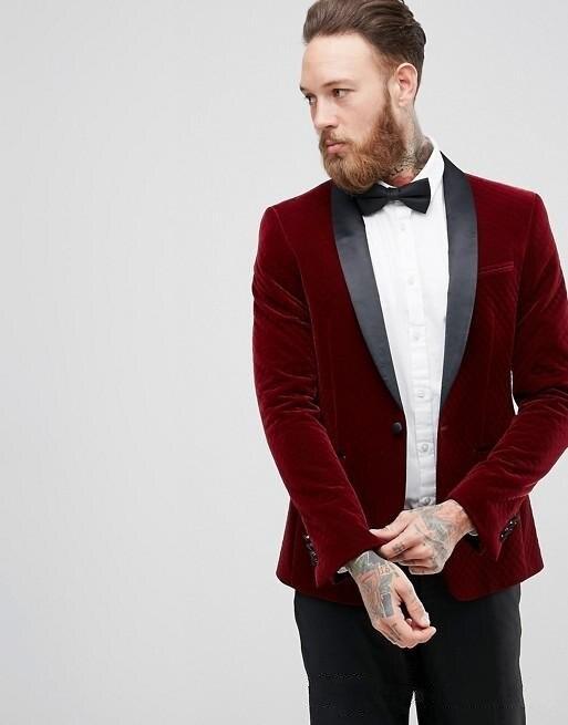 Recién llegado, esmoquin de terciopelo rojo con un botón para novio, mantón solapa padrinos de boda para hombre, trajes de boda, Blazers (chaqueta + Pantalones + corbata) W 545