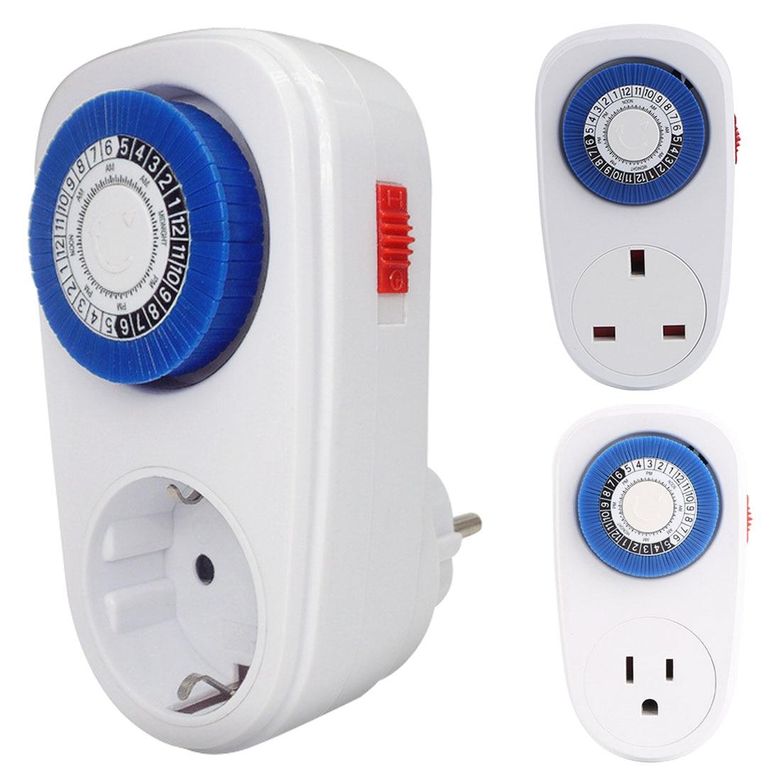 Interrupteur mécanique Mini minuterie, interrupteur de minuterie Programmable de 24 heures, prise bleue