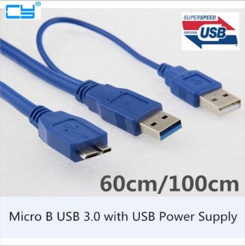 1 Uds 5Gbps Micro B USB 3,0 externo cable para disco duro con fuente de alimentación USB para WD pasaporte Samsung M3 SONY Toshiba ADATA