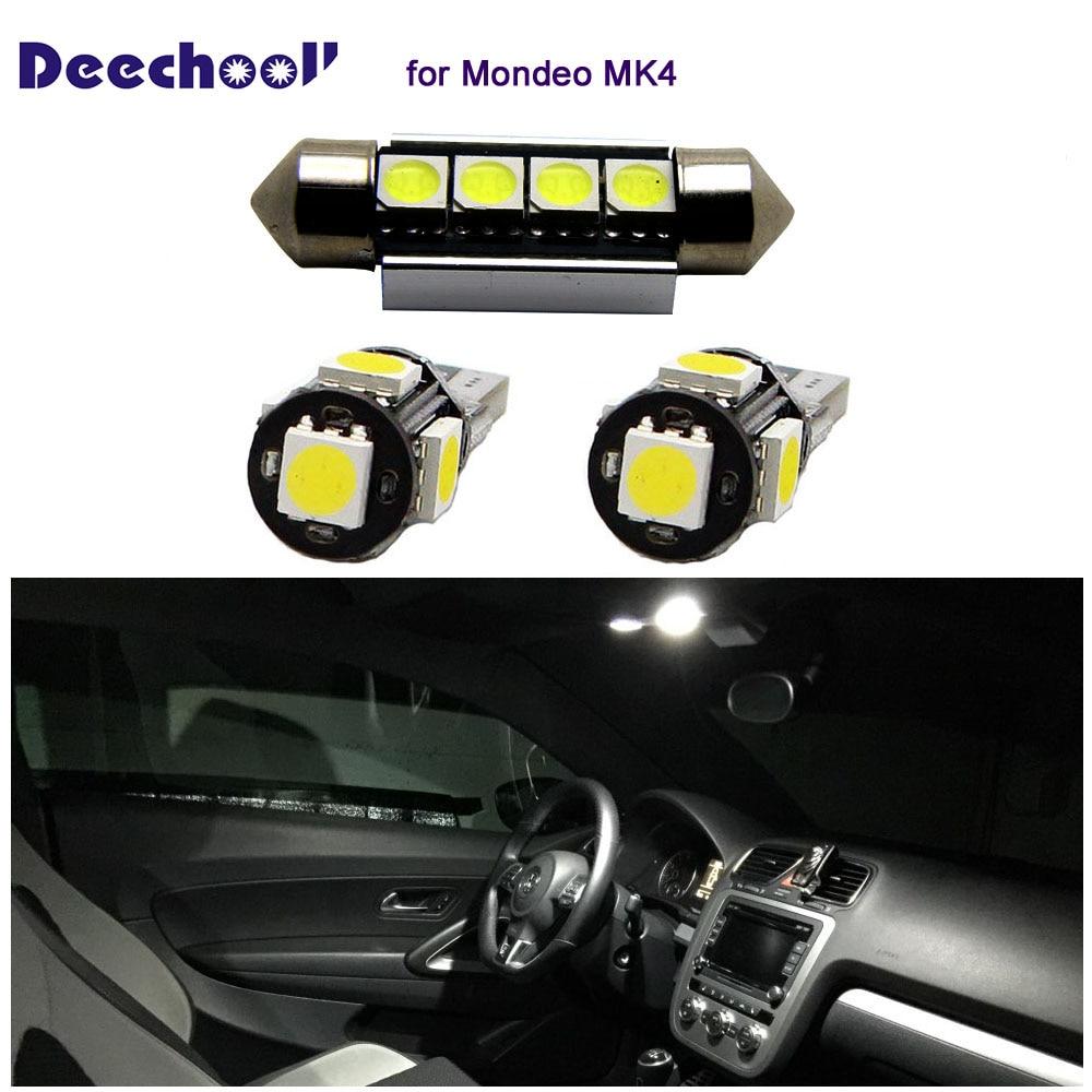 Deechooll 12 Uds coche LED bombillas para Ford Mondeo MK4... Canbus luces interiores para Ford Mondeo MK IV cúpula lectura luces Xenon blanco