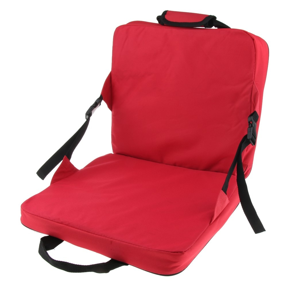 Comfortable Folding Bench Chair Seat Cushion with Backrest Fishing Cushion Seat for Outdoor Garden Patio Camping Hiking Red enlarge