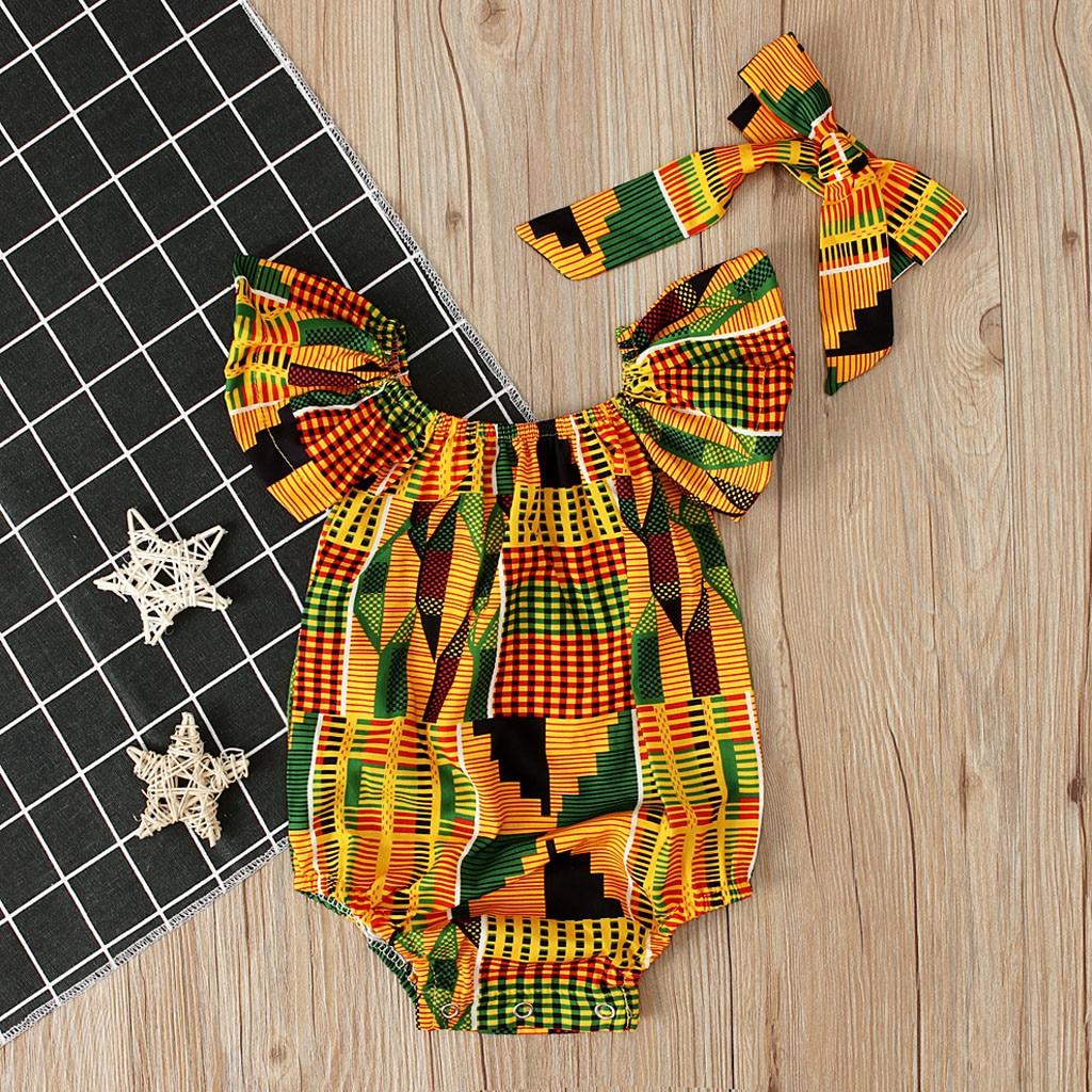 Ropa de verano para bebés y niñas, y hombros descubiertos Pelele con estampado africano, trajes con diadema para recién nacidos