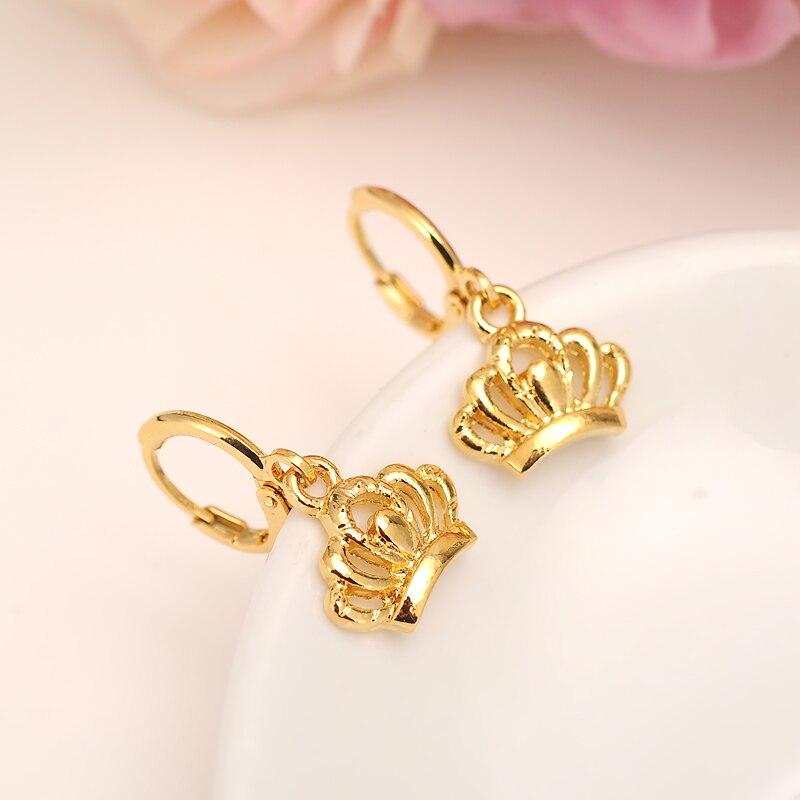 Серьга с короной для женщин подарок на день рождения трендовые 14 k чистый золотой цвет заполненные красивые обручальные/свадебные ленты обе...