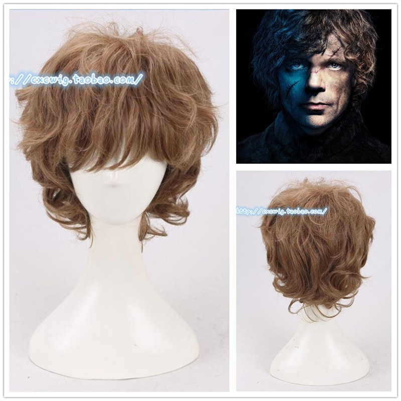 HBO Juego de tronos Tyrion peluca Lannister Peter Dinklage trajes de pelo rizado marrón