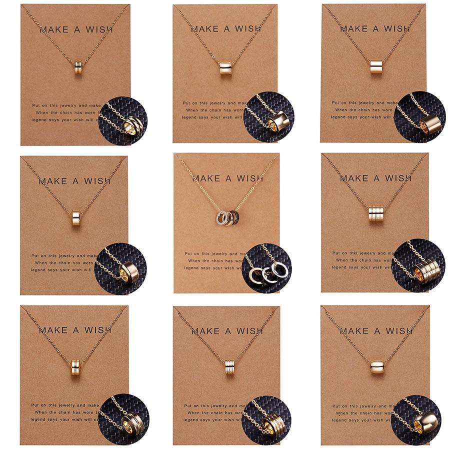 Collier avec pendentifs en forme de souhait, Simple, géométrique, Double cercle, pendentif Lariat, ras du cou, chaîne de clavicule, bijoux unisexes