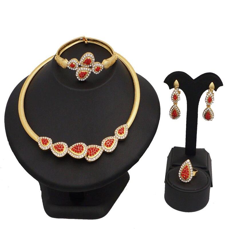 bead jewelry NEW design gold jewelry fashion costume jewelry set wedding jewelry set women necklace colour stone necklace