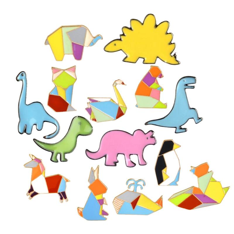 Геометрическая Сращивание кролик оригами эмалированная брошь в виде животного, кнопка, рубашка, сумка, значок динозавра, булавка на подарок...