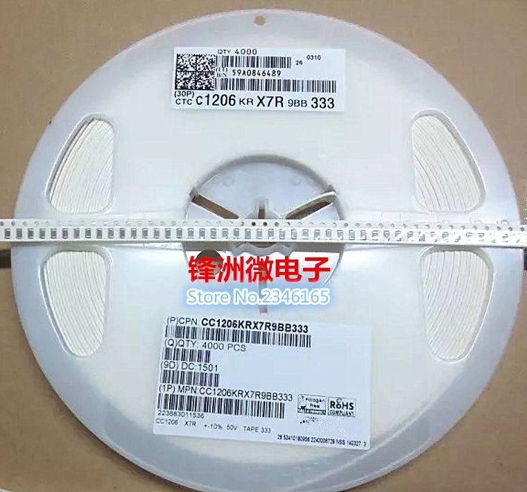 100 Uds 1206 103 10NF 0,01 UF X7R 10% chip de condensador SMD