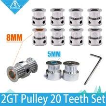 Piezas de impresora 3D UM2 Ultimaker2 2GT 6mm polea de correa 20 dientes agujero 8mm + GT2 20 diente diámetro 5mm + engranaje de doble cara 20 dientes agujero 8mm