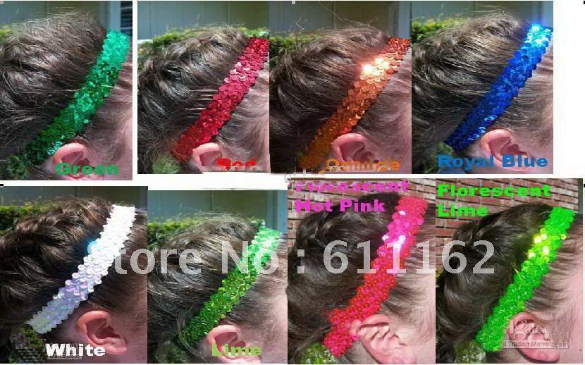 mix color 150pcs 1'' sequin headbands child headbands for girl stretch sequin headband Prevalent
