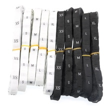 1 volumen/500 pc Größe Tuch Label Kleidung Kleidung Label Schwarz Hintergrund Weiß Buchstaben Oder Weißen Hintergrund Schwarzen Buchstaben