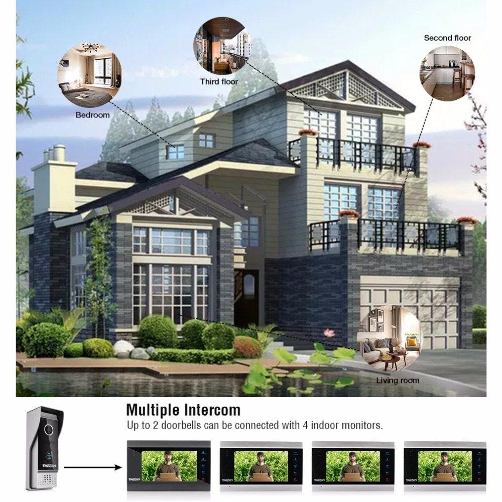 30%OFF FOR USED  TMEZON Home Intercom System Wireless WiFi Smart IP Video Doorbell 7 Inch with 1x1200TVL Wired Door Phone Camera enlarge